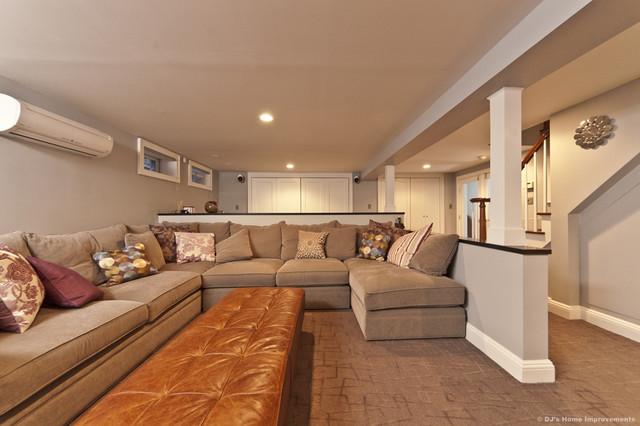 Modern contemporary basement design build remodel modern basement new york by dj 39 s home - Basement design ...