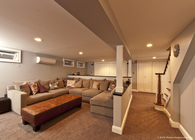 Modern contemporary basement design build remodel for Building a house from the ground up cost
