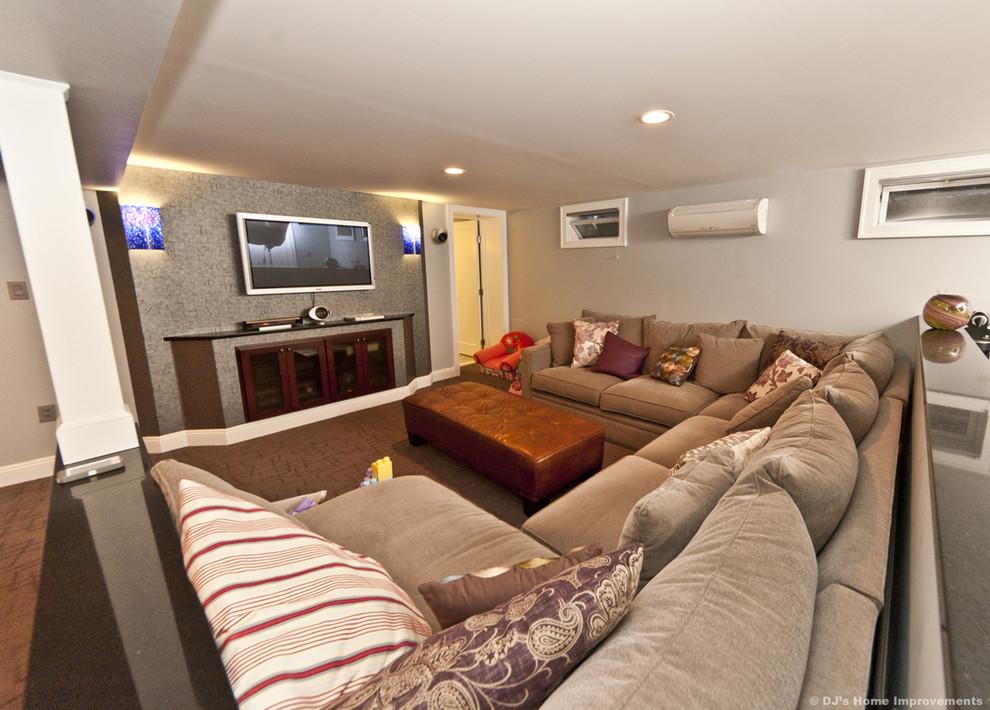 Modern Contemporary Basement Design Build Remodel Modern Basement New York By Dj S Home Improvements Houzz