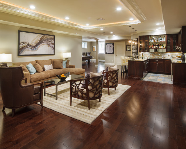 Modern marvel traditional basement new york by for Best flooring for basement family room