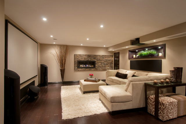 Modern media room basement contemporary basement detroit by realstone systems - Basements designs ...