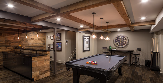 Modern Rustic Games Room - Just Basements - Contemporary ...