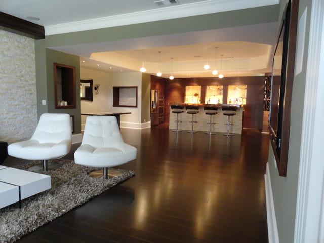 modern walnut basement bar modern basement atlanta by acworth