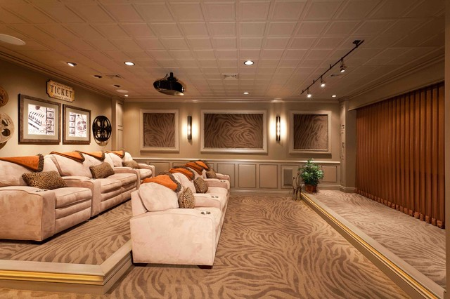 Basement remodel mechanicsburg traditional basement for Small room movie theater