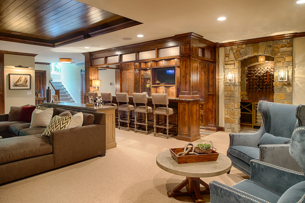 Large elegant carpeted and beige floor basement photo in Minneapolis with beige walls