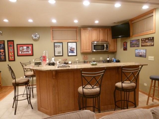 oak basement bar traditional basement chicago