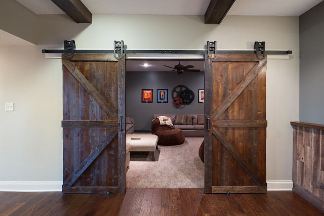 Old World Basement Barn Doors Rustic Basement Indianapolis