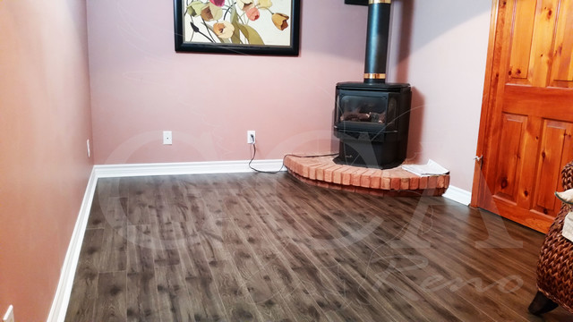 Orangeville Basement Grey Laminate Flooring Rustic