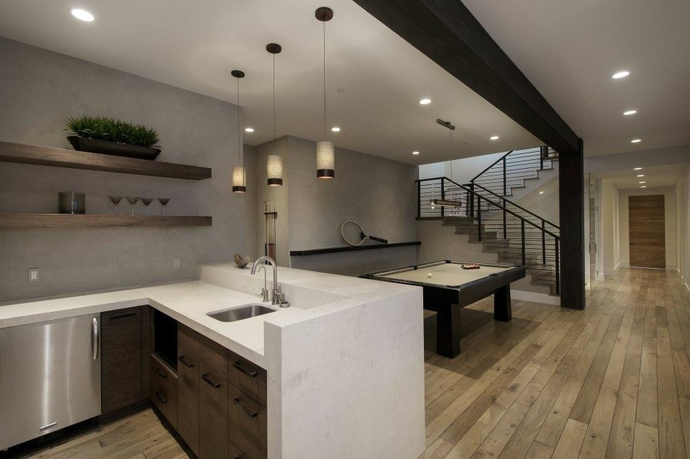 Large trendy underground medium tone wood floor basement photo in Salt Lake City with gray walls and no fireplace