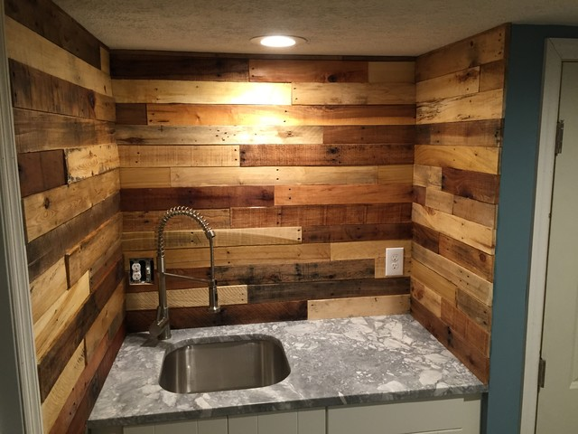 Pallet Wood Backsplash Rustic Basement Columbus By Revival Woodworks
