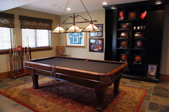Interior pool table game room basement for Pool design game