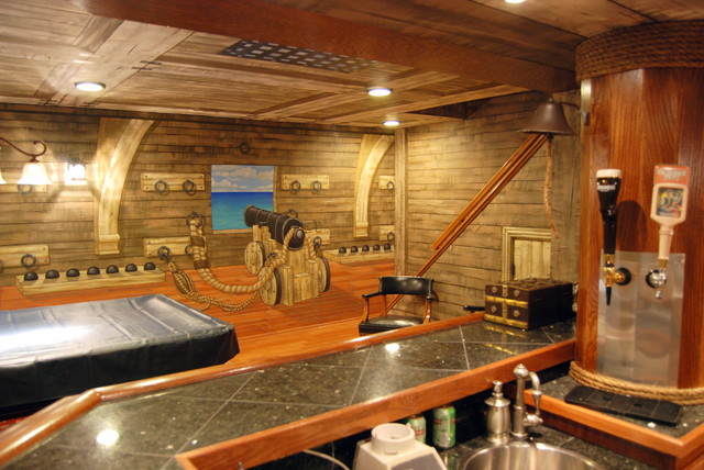 pirate ship murals in lower level and bar by tom taylor of. Black Bedroom Furniture Sets. Home Design Ideas
