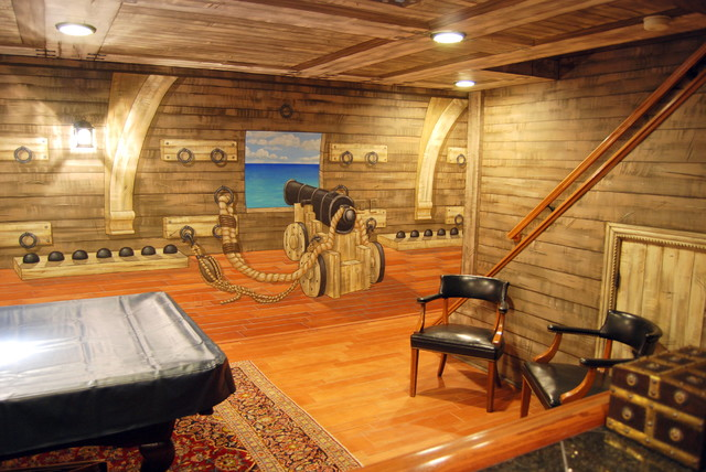 Pirate Ship Murals in Lower Level and Bar by Tom Taylor of Wow Effects, in VA eclectic-basement