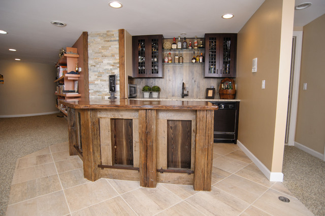Beautiful Plymouth Custom Reclaimed Wood Bar Design Rustic Basement