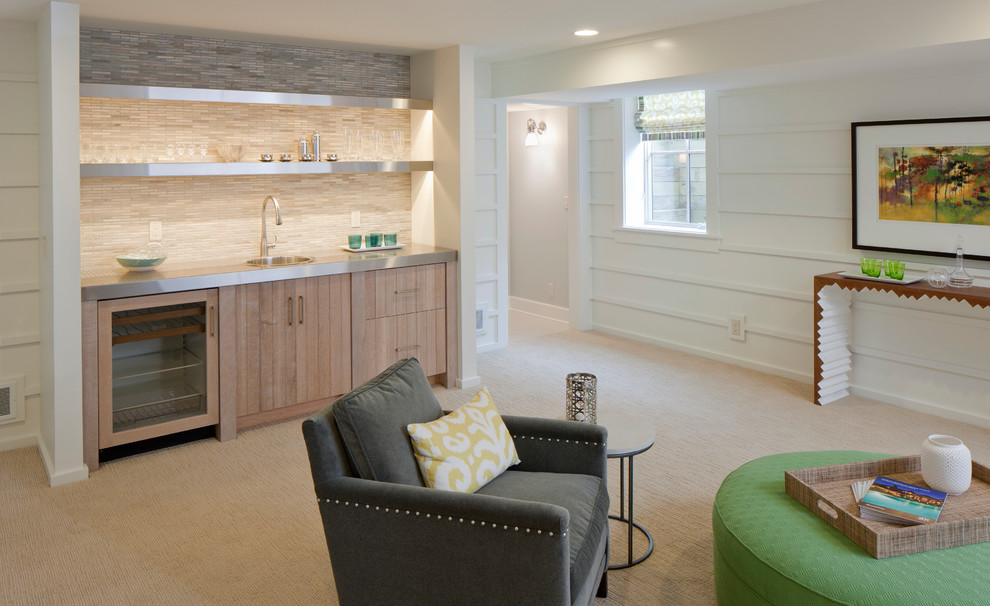 Inspiration for a coastal look-out carpeted and beige floor basement remodel in Grand Rapids with white walls and no fireplace