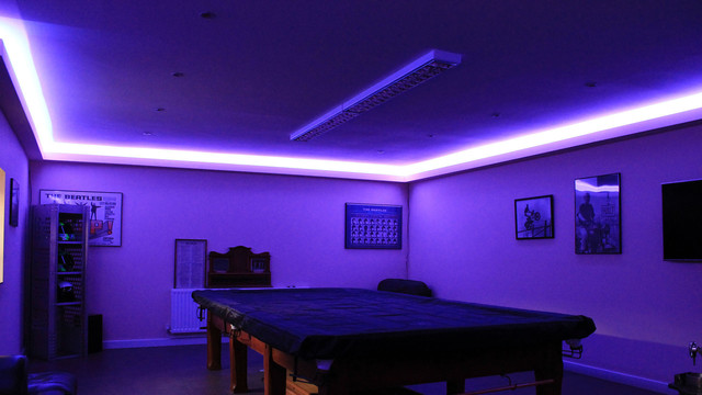Pool Room Lighting In Dark Blue Modern Bat