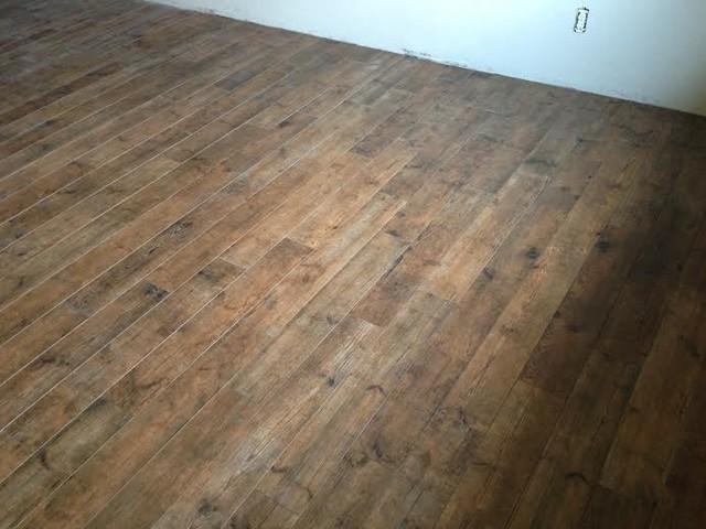 Porcelain Wood Basement Floor Transitional Denver