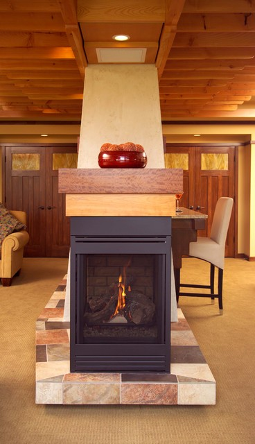 Prairie inspired lower level contemporary basement for Prairie style fireplace