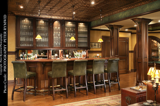 garage home theater ideas - Pub Bar Traditional Basement new york by Carisa