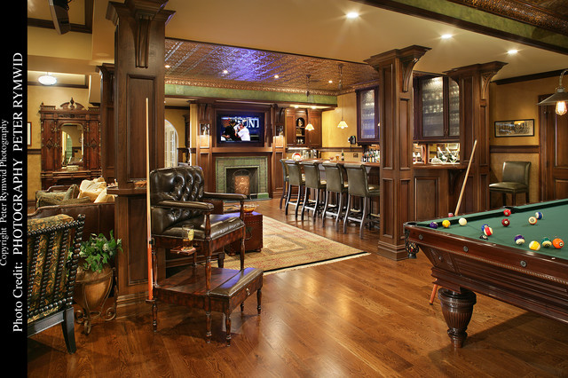 Pub Bar, Fireplace, And Pool Table Traditional Basement