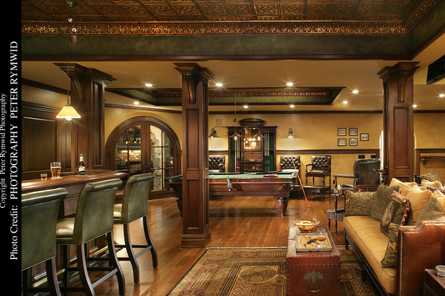 Pub Bar Seating And Pool Table Basement New York