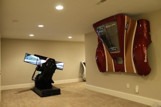 Racing Simulator Room Modern Basement Columbus By Eleetus Motion Simulators