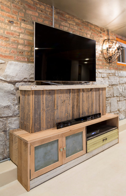 Reclaimed Wood Media Cabinet Eclectic Basement Chicago By Foundre Made