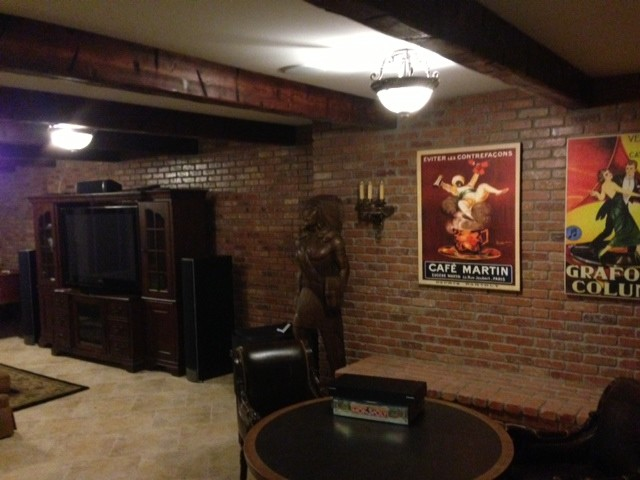 reclaimed wood styles traditional-basement