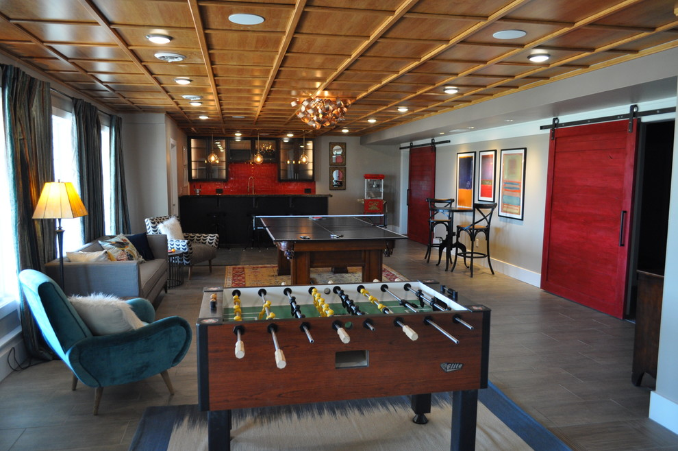 Inspiration for an eclectic basement remodel in Other