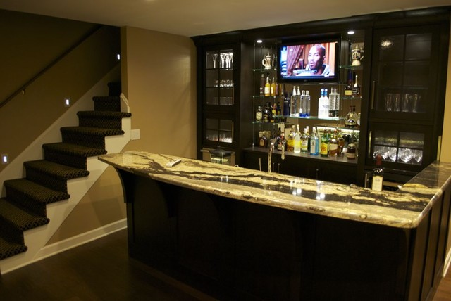 Renovated Home Theater And Bar Contemporary Basement