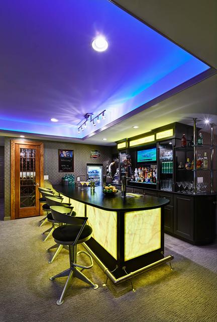 Residential basement remodel bar and gym contemporary basement charlotte by vonn studio - Residential bars ...