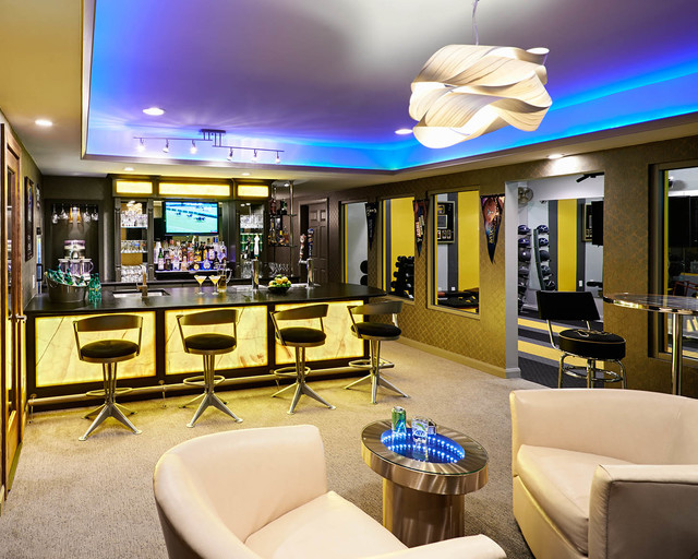 pole barn ceiling ideas - Residential Basement Remodel Bar and Gym Contemporary