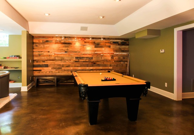 Riverside basement renovation contemporary basement atlanta by daniel m martin - Basement concrete wall ideas ...