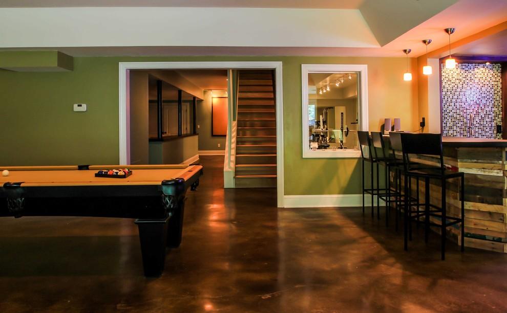 Example of a trendy concrete floor and brown floor basement design in Atlanta