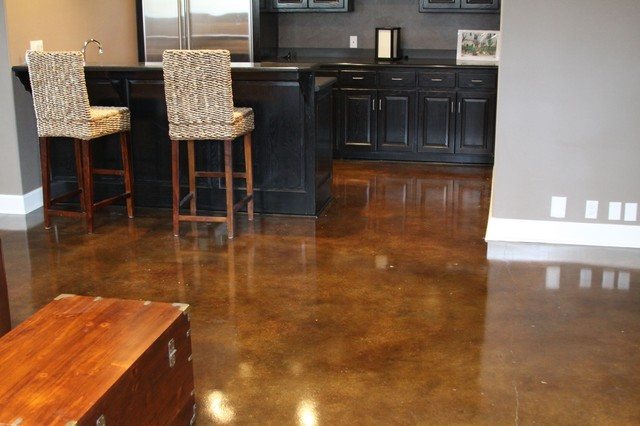 Basement Stained Concrete Different Colors Different Rooms