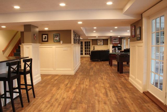 Rochester Luxury Vinyl Planks Traditional Basement Boston