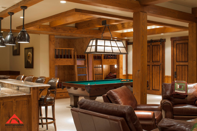 Rocky Mountain Log Homes Timber Frame Love Rustic Basement By Rocky Mountain Log Homes