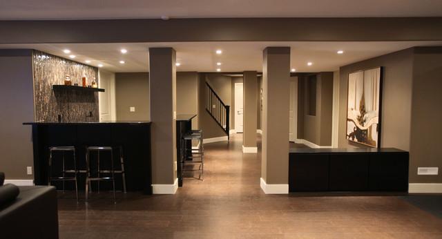 Rothenberg basement development modern basement for Modern finished basements