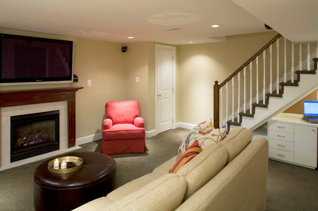 Row home remodel traditional basement baltimore by for Row house exterior design ideas