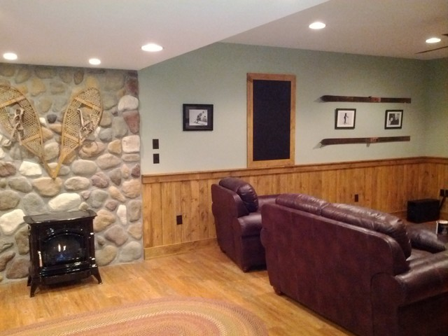 Rustic basement basement other metro by j p orlando for Rustic basement