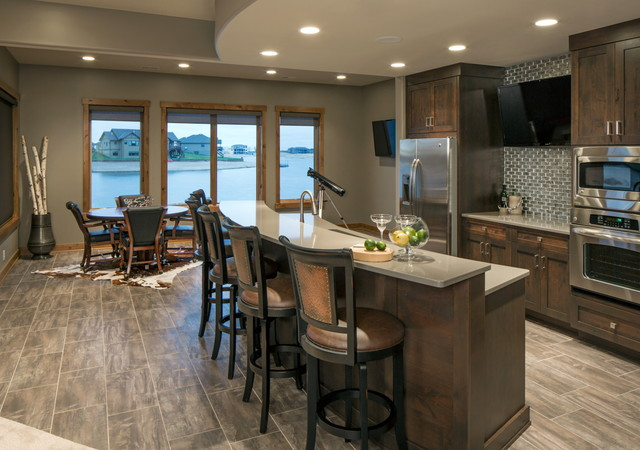 Rustic Chic Lakehouse Transitional Basement Omaha