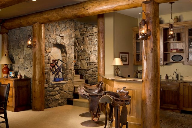 Rustic elegance rustic basement denver by rocky for Log cabin basement ideas