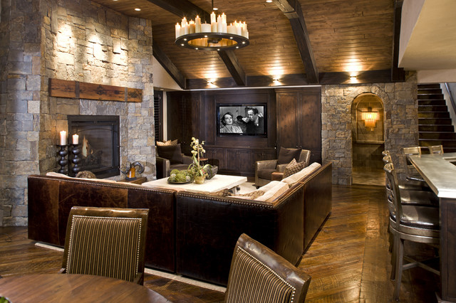 Rustic Family Room rustic-basement