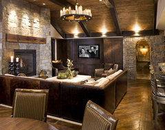 Rustic Family Room rustic basement