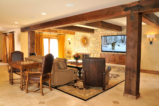 Rustic LodgeStyle Basement Traditional Basement DC Metro By Classy Sun Design Remodeling