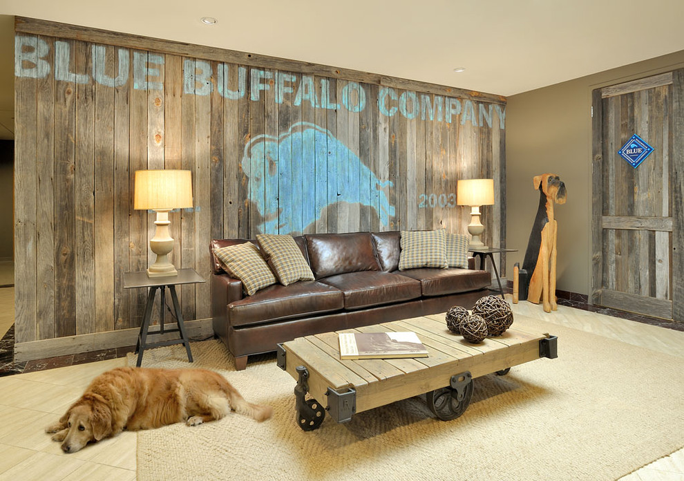 Inspiration for a contemporary underground ceramic floor and beige floor basement remodel in New York with beige walls