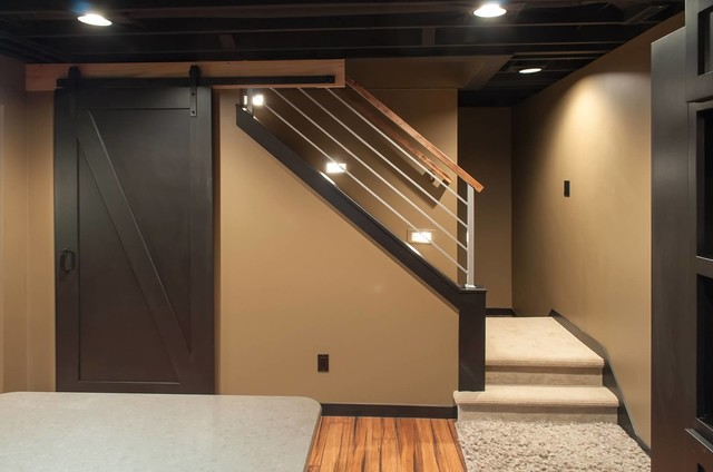 basement ceiling ideas pipes - Schubbe Basement remodel Traditional Basement
