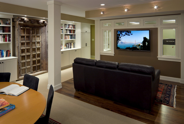 Basement Office Design shingle style basement media/office/fitness space