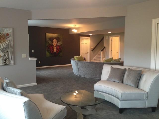 Soft contemporary contemporary basement indianapolis for Soft modern interior design