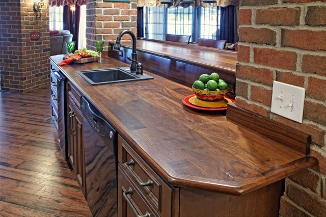 Solid Walnut Countertops In Finished Basement